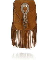 Saint Laurent | Brown Anita Fringed Suede Shoulder Bag | Lyst