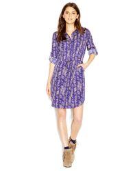 Maison Jules - Blue Long-Sleeve Point-Collar Printed Shirt-Dress - Lyst