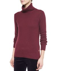 Loro Piana - Red Cashmere Glace Chain-knit Turtleneck Sweater - Lyst