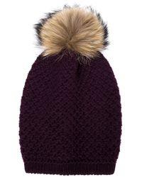 Inverni - Purple Raccoon Fur Pompom Beanie - Lyst