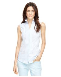 Brooks Brothers - Blue Stripe Cotton Sleeveless Shirt - Lyst