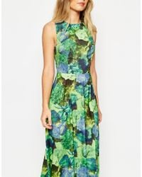 ASOS - Multicolor Cross Back Maxi Dress In Green Floral Print - Lyst