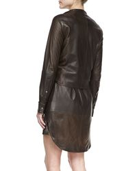 750cbda7e1 Lyst - Halston Leather Shirtdress With Attached Jacket in Brown