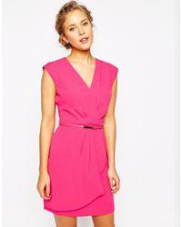 Oasis - Pink Plunge Neck Wrap Dress - Lyst