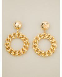 Moschino - Metallic Chain Circle Hoops - Lyst