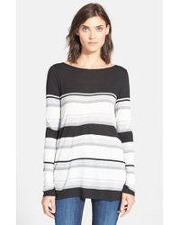 Vince - Black Engineered Stripe Long Sleeve Tee - Lyst