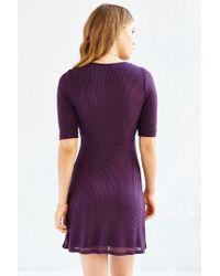 Silence + Noise - Purple Ribbed Knit Deep-v Dress - Lyst