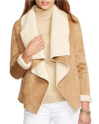Lauren by Ralph Lauren - Brown Petite Sherpa-lined Open-front Jacket - Lyst