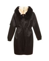 Moschino | Black Parka With Fur Hood | Lyst