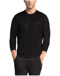 BOSS Green - Black Sweatshirt: 'salbo' In Cotton Blend for Men - Lyst