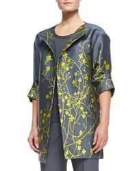 Lafayette 148 New York - Gray Morgan 3/4-sleeve Floral Topper - Lyst