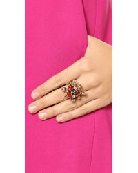 Oscar de la Renta - Multicolor Resin Flower Ring - Persimmon - Lyst