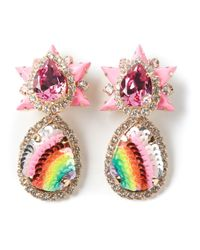 Shourouk | Pink 'galaxy' Clip-on Earrings | Lyst