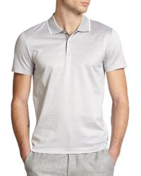 Theory - Gray Boyd Pinstriped Mercerized Cotton Polo for Men - Lyst