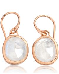 Monica Vinader | Metallic Rose Gold Vermeil Moonstone Siren Wire Earrings | Lyst