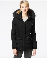 Jones New York | Black Faux-fur Down Parka Jacket | Lyst
