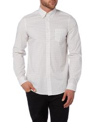 Ben Sherman | White Micro Geo Long Sleeve Shirt for Men | Lyst
