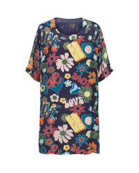 Love Moschino Multicolor 60s Print Tunic Dress