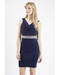 TOPSHOP - Blue Embellished Bodycon Dress By Tfnc - Lyst