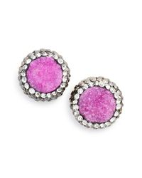 Panacea | Pink 'drusy Lux' Stud Earrings | Lyst