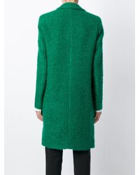 MSGM - Green Bouclé Single Breasted Coat - Lyst