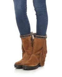 Sam Edelman | Brown Tilden Faux Fur Lined Fringe Boots - Black | Lyst