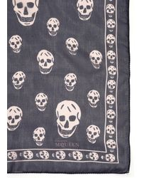 Alexander McQueen - Blue Skull-print Chiffon Scarf - Lyst