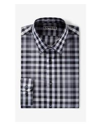 Express - Gray Ombre Plaid Fitted Dress Shirt - Red for Men - Lyst