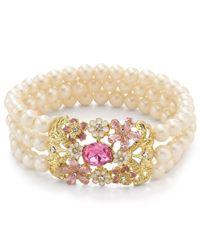 Carolee - White Teacup Florals Stretch Bracelet - Lyst
