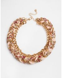Pieces - Metallic Dolly Fabric Braid Necklace - Lyst