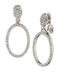 Anne Klein | Metallic Crystal Hoop Clip-on Earrings | Lyst