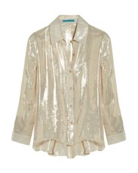Alice + Olivia | Drew Metallic Silk-blend Blouse | Lyst