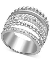 Swarovski - Multicolor Rhodium-plated Crystal Multi-row Wide Ring - Lyst