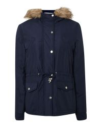 Vero Moda | Blue Short Padded Faux Fur Trim Jacket | Lyst