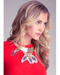 Bebe | Multicolor Feather Collar Necklace | Lyst