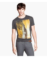 H&M - Gray T-shirt with A Print for Men - Lyst