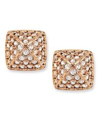 Swarovski | Pink Rose Gold-tone Pvd Crystal Stud Earrings | Lyst