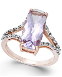 Macy's | Purple Pink Amethyst (3-3/4 Ct. T.w.) And Diamond (1/6 Ct. T.w.) Ring In 14k Rose Gold | Lyst