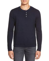 Zachary Prell | Blue 'knightsbridge' Merino Wool & Cashmere Henley Sweater for Men | Lyst