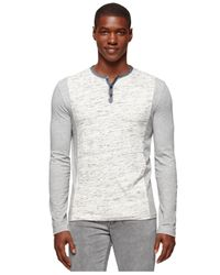 Calvin Klein Jeans | Gray Colorblocked Henley for Men | Lyst