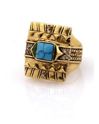 House of Harlow 1960 | Blue Cushion Cocktail Ring With Turquoise | Lyst