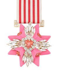 Shourouk - Pink Rose Medal Pin - Lyst