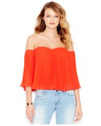 Guess | Red Pleated Off-the-shoulder Top | Lyst
