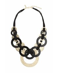 TOPSHOP - Black Hammered Circle And Cord Necklace - Lyst