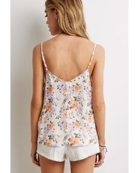 Forever 21 | Multicolor Lace-paneled Floral Print Cami | Lyst