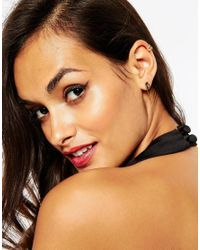 ASOS - Metallic Gold Plated Sterling Silver Premium Mismatch Through And Cuff Earrings - Lyst