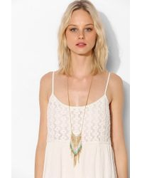 Urban Outfitters - Metallic Beaded Fringe Long Necklace - Lyst