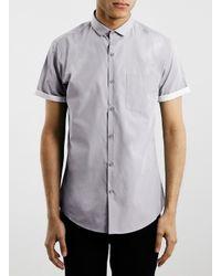 TOPMAN - Gray Light Grey Contrast Short Sleeve Dress Shirt for Men - Lyst