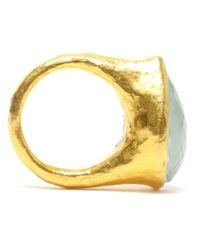 Ram - Blue Hammered 22k Gold Aquamarine Ring - Lyst