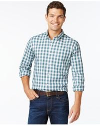 Tommy Hilfiger | Green Mini-plaid Long-sleeve Shirt for Men | Lyst